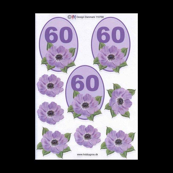 60 år tal 3D ark, Fødselsdage, 60 år, lilla, tal 60 år tal