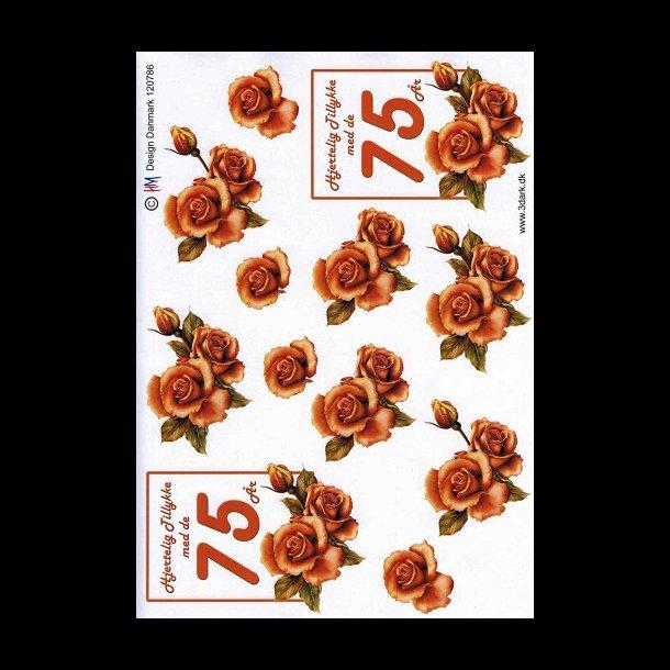 75 års tal 3D ark, Fødselsdage, 75 år, kobber, roser, tal 75 års tal