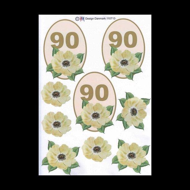 90 års tal 3D ark, Fødselsdage, 90 år, beige, tal 90 års tal