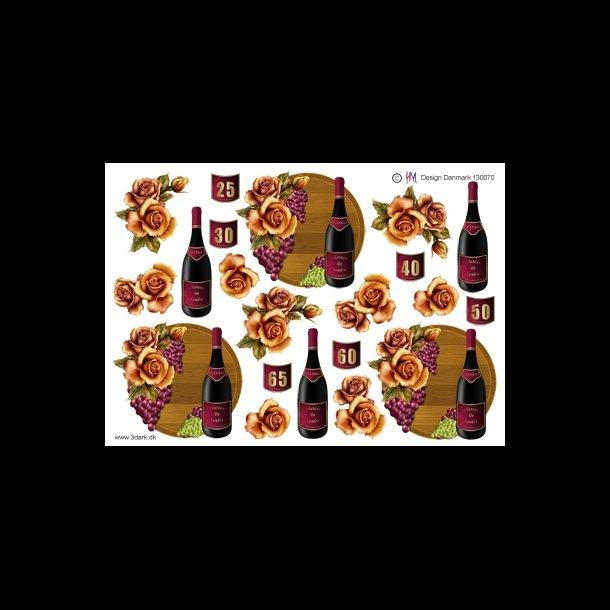 65 års tal 3D ark   Tal, rødvin m/tal, 25 65, år 65 års tal