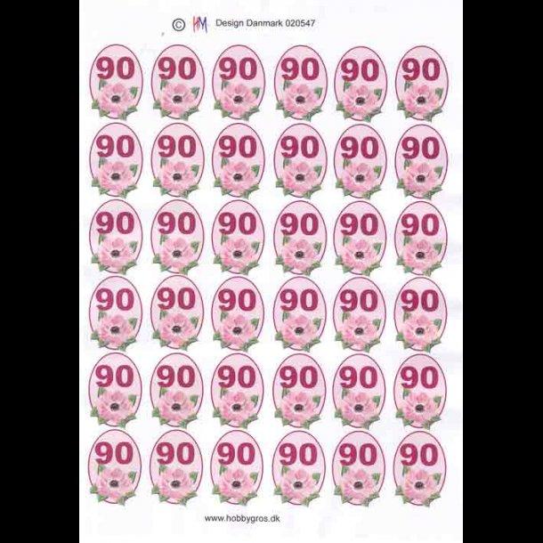 90 års tal 3D ark, Fødselsdage, 90 år, rosa, 6x6, tal 90 års tal