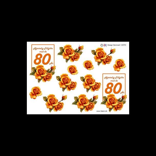 80 års tal 3D ark, Fødselsdage, 80 år, kobber, tal 80 års tal