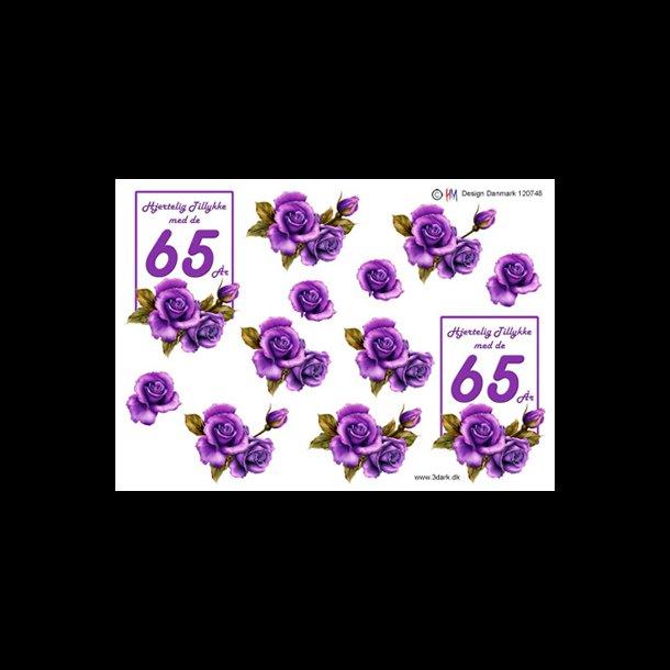 65 års tal 3D ark, Fødselsdage, 65 år, lilla, roser, tal 65 års tal