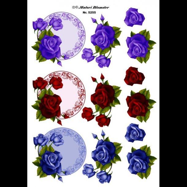 Dejlig 3D ark - Blomster, runde rammer m/roser, lilla, rød, blå QA-01