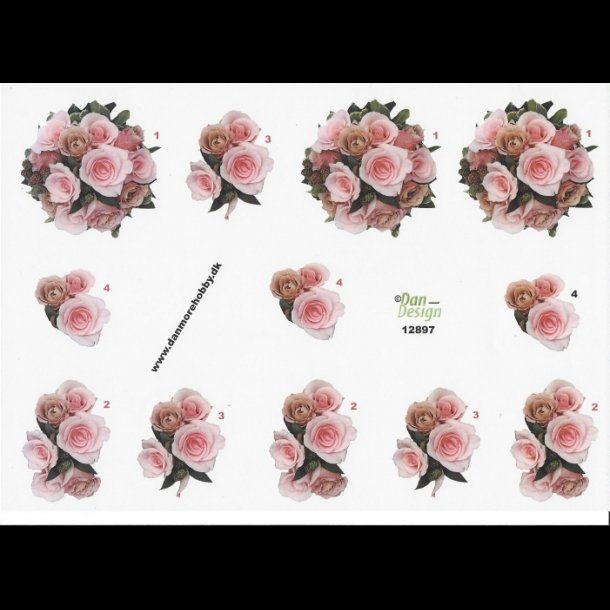 Splinternye 3D ark - Blomster, buket af lyserøde roser VE-03