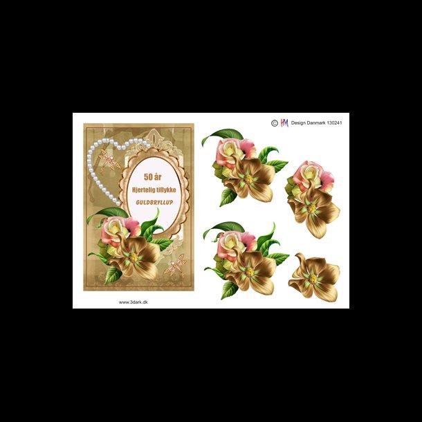 50 års telegram 3D ark   Guldbryllup, hjerte, blomster, 50 år 50 års telegram